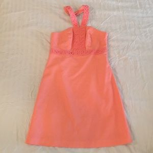 Bright peach halter dress